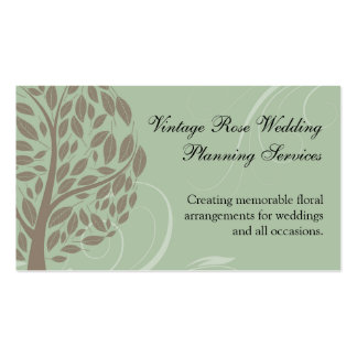 Sage Green and Soft Brown Stylised Eco Tree Business Card