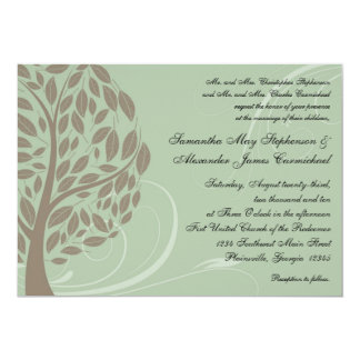 Sage Green and Soft Brown Stylised Eco Tree 13 Cm X 18 Cm Invitation Card