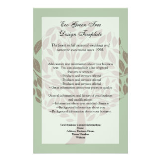 Sage Green and Soft Brown Stylized Eco Tree 14 Cm X 21.5 Cm Flyer