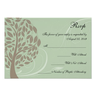 Sage Green and Soft Brown Stylized Eco Tree RSVP Announcements