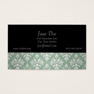 Sage Green and White Floral Damask Business Card