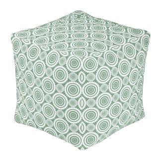 Sage Green and White Geometric Circles Pattern Pouf