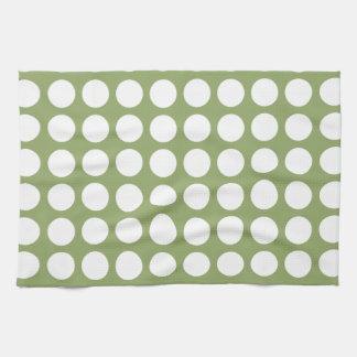 Sage Green & Big White Polka Dots Tea Towel