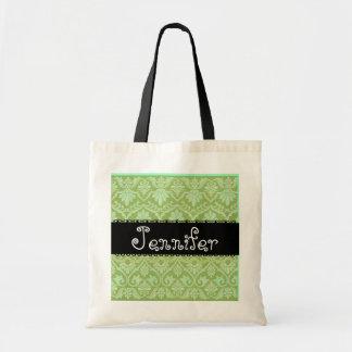 Sage Green & Black Wedding Damask Bridesmaid Bag