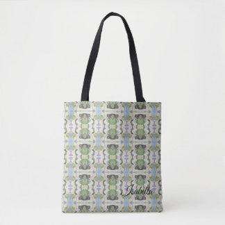Sage Green & Blue Pastel Pattern Tote Bag