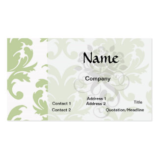 sage green bold large damask pattern business card template