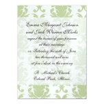 sage green bold large damask pattern invitation