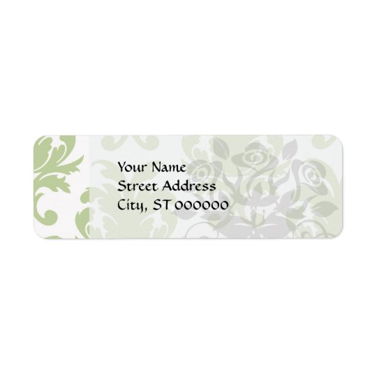 sage green bold large damask pattern return address label