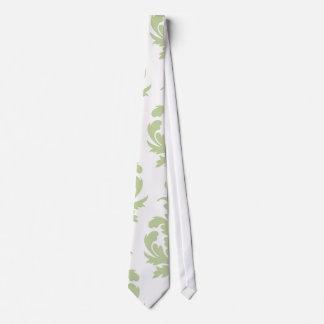 sage green bold large damask pattern tie