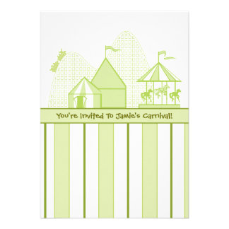Sage Green Carnival Children s Birthday Party Cards