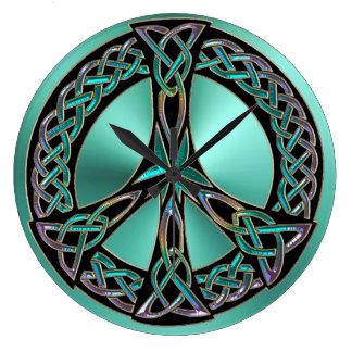Sage Green Celtic Knot Peace Sign Clock