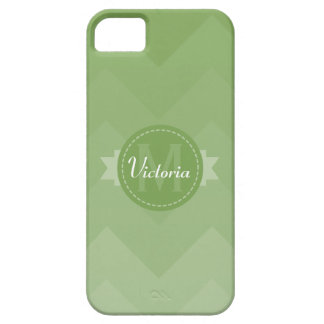 Sage Green Chevron Name Monogram Initial Case For The iPhone 5