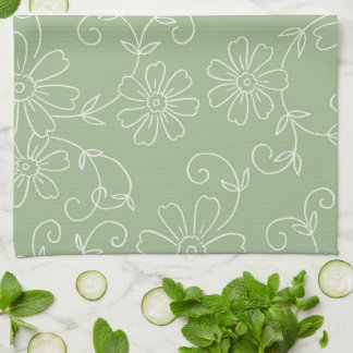 Sage Green Cream Floral Kitchen Cloth Towel