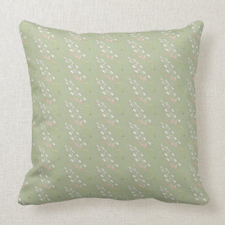 Sage Green, Cream, Rose Flecked Throw Pillow