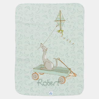 Sage Green Dog with Wagon and Kite Baby Blanket
