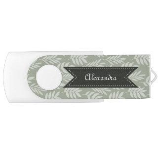 Sage Green Elegant Leaves Pattern With Name Swivel USB 2.0 Flash Drive