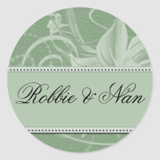 Sage green floral wedding stickers