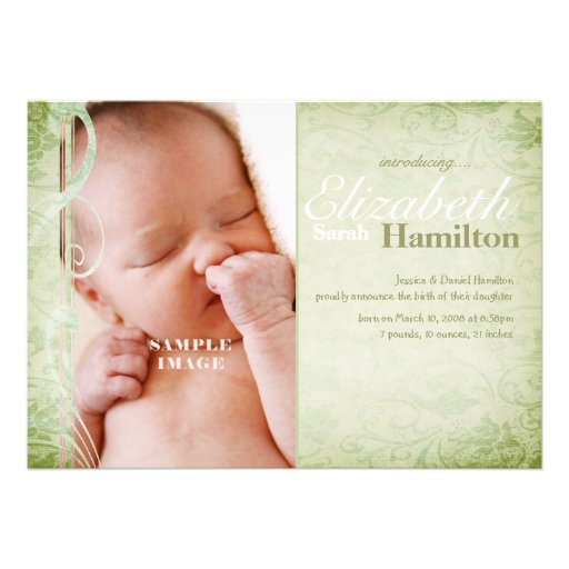 Sage Green Gender Neutral Baby Birth Announcement