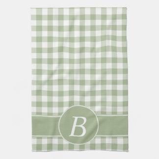 Sage Green Gingham Monogram Kitchen Towel