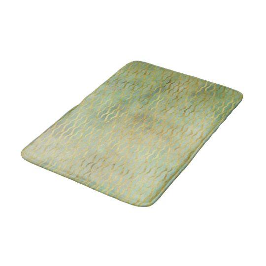 Sage Green & Gold Watercolor Wave Stripes Bath Mat