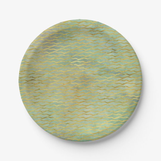 Sage Green & Gold Watercolor Wave Stripes Paper Plate