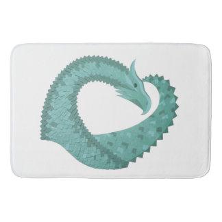 Sage green heart dragon on white bath mat