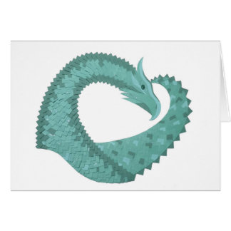 Sage green heart dragon on white card