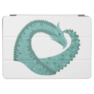 Sage green heart dragon on white iPad air cover