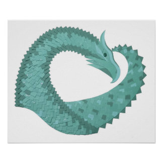 Sage green heart dragon on white poster