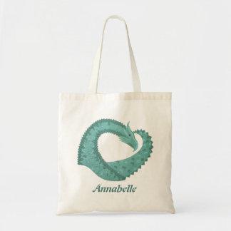 Sage green heart dragon on white tote bag