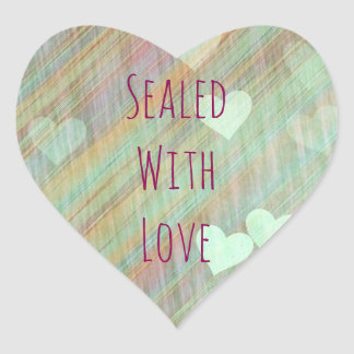 Sage Green Hearts Sealed with Love Sticker