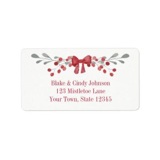 Sage Green Holiday Foliage with Red Bow Address Label