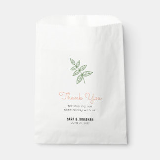 Sage Green Leaf, Coral Accent Wedding Favour Bag