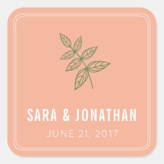 Sage Green Leaf on Coral Wedding Square Sticker