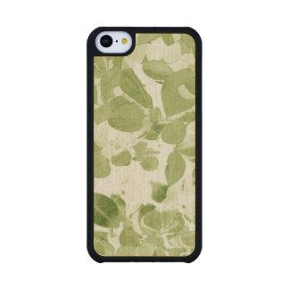 Sage Green Leaf Pattern, Vintage Inspired Carved® Maple iPhone 5C Case