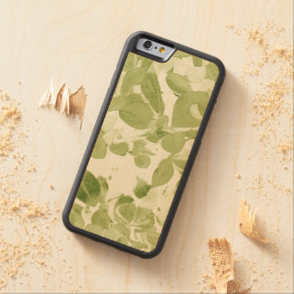 Sage Green Leaf Pattern, Vintage Inspired Carved® Maple iPhone 6 Bumper