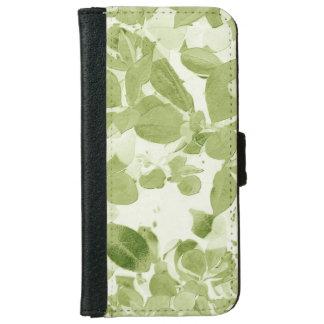 Sage Green Leaf Pattern, Vintage Inspired iPhone 6 Wallet Case