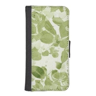Sage Green Leaf Pattern, Vintage Inspired Phone Wallets