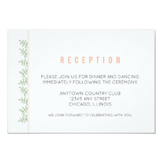 Sage Green Leaves Coral Border Reception Card