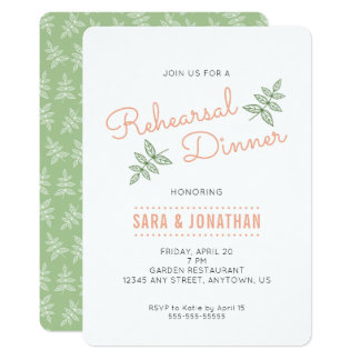 Sage Green Leaves & Coral Rehearsal Dinner Invite