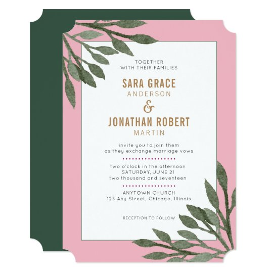 Sage Green Leaves Pink Border Wedding Card