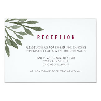 Sage Green Leaves Watercolor Burgundy Reception Card