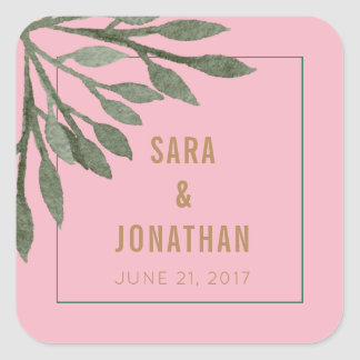 Sage Green Leaves Watercolor on Light Pink Wedding Square Sticker