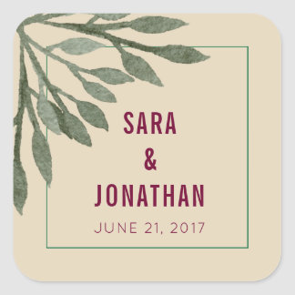 Sage Green Leaves Watercolor on Tan Wedding Square Sticker