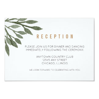 Sage Green Leaves Watercolor Wedding Reception Card