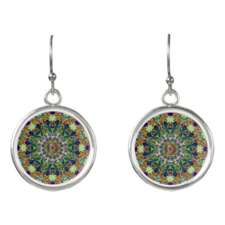 Sage Green Mandala Earrings