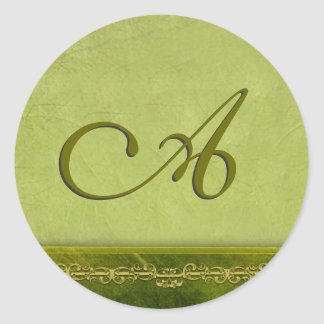 Sage green monogram - customize your own round sticker