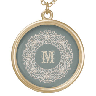 Sage Green Monogram Gold Plated Necklace