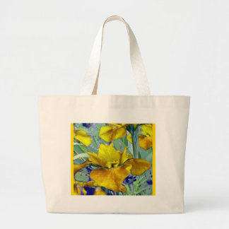 Sage Green Mustard Yellow Iris Garden Pattern Large Tote Bag