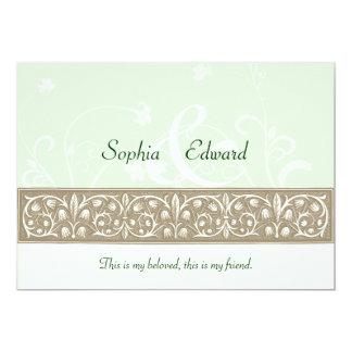 Sage Green Ornamental Frieze Wedding 13 Cm X 18 Cm Invitation Card